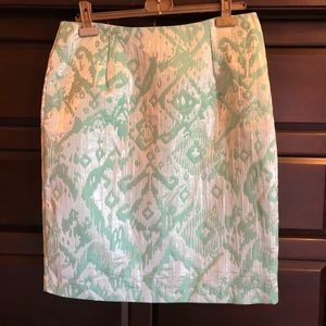Sunny Leigh Green Metallic Jacquard Skirt, 14